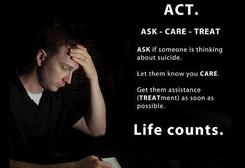 "ACT: ASK- Don't be afraid to ask, ""Are you thinking about harming yourself?"" CARE - Tell them that you care and don't leave the person alone. TREAT- Get TREATMENT and seek out assistance as soon as possible."