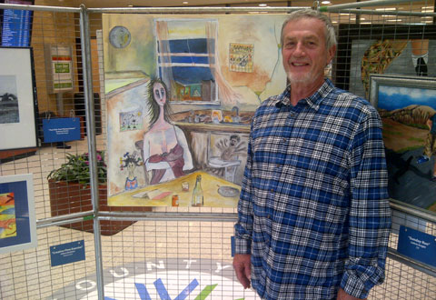 Veteran David Watling poses by his painting