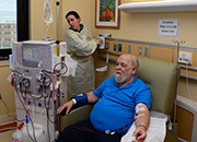 A patient recieved hemodialysis treatment