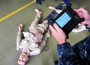 Each tetherless trauma manikin is controlled by a remote that is powered by a Makita 18-volt lithium battery. The approximately $80,000 manikins can be programmed to move, breathe and bleed from wounds, among other things.