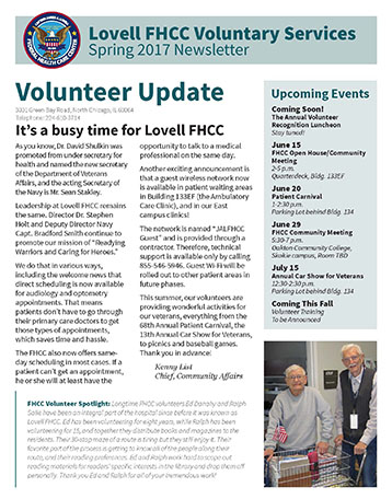 The cover of the FHCC Volunteer Newsletter