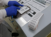 Closeup of Zika test label on blood products